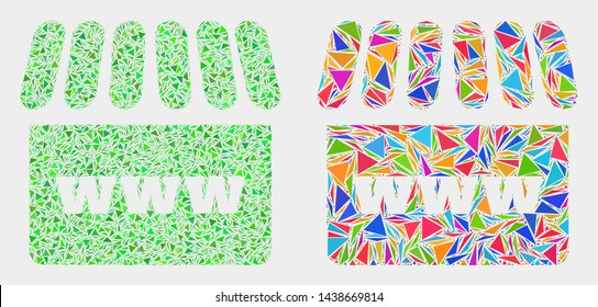 Webshop collage icon of triangle items which have variable sizes and shapes and colors. Geometric abstract vector illustration of webshop.