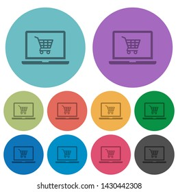 Webshop darker flat icons on color round background
