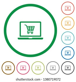 Webshop flat color icons in round outlines on white background