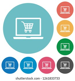 Webshop flat white icons on round color backgrounds