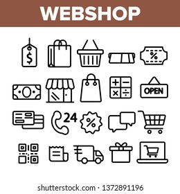 Webshop, Online Shopping Linear Vector Icons Set. E Commerce Thin Line Contour Symbols Pack. Internet Purchases Pictograms Collection. Online Sales. Goods Delivery Outline Illustrations