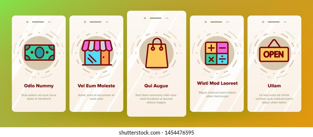 Webshop, Online Shopping Linear Vector Onboarding Mobile App Page Screen. E Commerce Thin Line Contour Symbols Pack. Internet Purchases Pictograms Collection. Online Sales. Goods Delivery Illustration