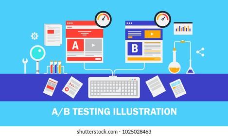 Website AB testing, Split testing, web pages flat vector design with icons