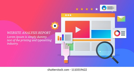 Website analysis - SEO audit - SEO Report - Web data analytics - Vector banner with icons and texts