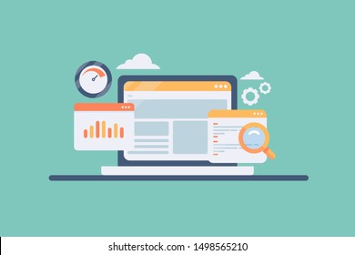 Website analysis, Seo, Coding, loading speed, concept vector banner with icons isolated on green background
