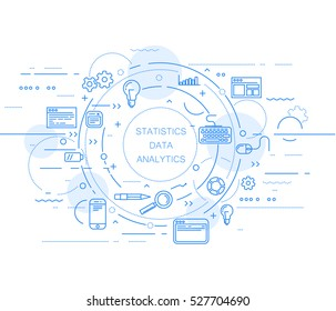 Website analytics and data statistics abstract design