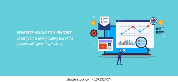 Website analytics - Web traffic report - Performance, Data monitoring flat vector illustration with icons isolated on blue background