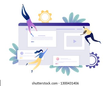 Website and App Development - People Constructing and Creating a Website. Modern Flat Vector Illustration Flow Concept For Web Banner, Website, Flyer, Card, Presentation. Isolated on White