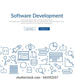 Website banner and flyer template on white background with blue agile software development line icons such as: scrum task board, release, coding, GIT branch, testing, laptop and other agile icons