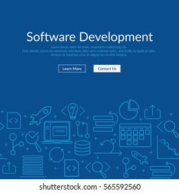 Website banner and flyer template on dark blue background with agile software development line icons such as: scrum task board, release, coding, GIT branch, testing, laptop and other agile icons
