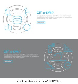 Website banner and flyer template on white background with blue agile software development line icons such as: GIT branch, repository, continuous integration, pull request and other agile icons
