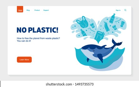 Website banner No plastic! Vector flat illustration for World Environment Day. A whale swims in sea with garbage - in water are plastic bag, glass, straw, bottle, canisters.Template Harm to nature.
