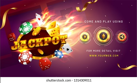 Website banner or poster design with realistic casino elements and cryptocurrency on shiny purple background for Jackpot winner party celebration concept.