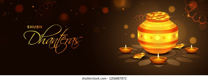 Website banner or poster with illustration of golden coin pot and illuminated oil lamps on glossy brown background for Dhanteras festival.