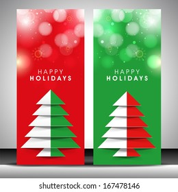 Website banner set design for Merry Christmas celebration with stylish colorful Xmas tree on red and green background.