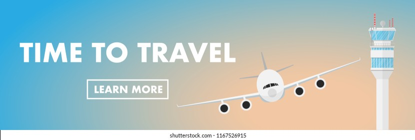 "Website banner style- airplane(plane) is taking off from the airport with air traffic control tower(ATC) and copy space for text ""time to travel)"