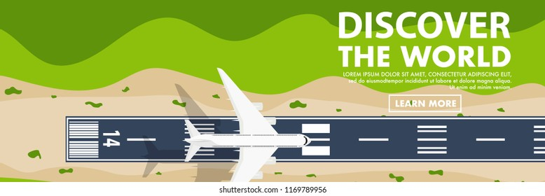 """Website banner style of Top down view from the sky of the airport runway with plane(airplane) is taking off or landing and copy space for text """"Discover the world"""""""