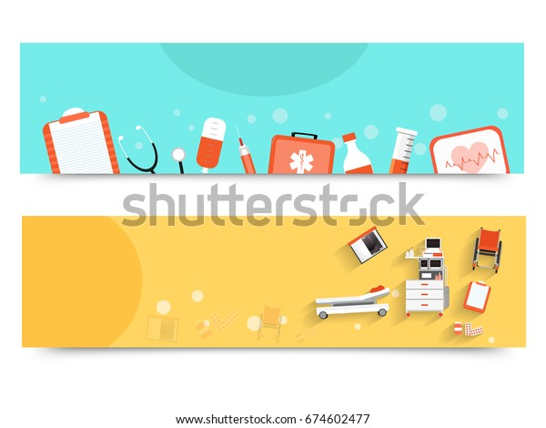 Website Banners Different Medical Equipments Health Stock