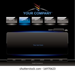 Website blue button bars set template