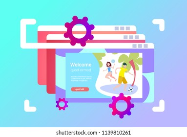 website browser windows interface couple playing beach games female male activity cartoon character frame focusing full length horizontal copy space flat vector illustration