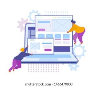 Website builder concept. Flat vector illustration. Onboarding screens template. Mobile app design.