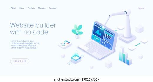 Website builder illustration in isometric vector design. Web development cloud-based service. Saas app for responsive web site.
