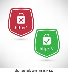 Website Certificate Badges - Secure and Insecure Network Connection