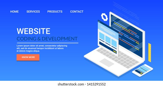 Website coding, development, web application development, Design and development concept, flat style vector banner isolated on blue background