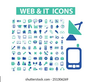 website, communication, computer, electronic, gadgets, hardware isolated design flat icons, signs, illustrations vector set on background