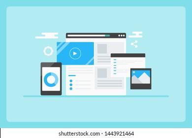 Website content management, CMS, Digital content, Business solution - flat design vector banner on blue background