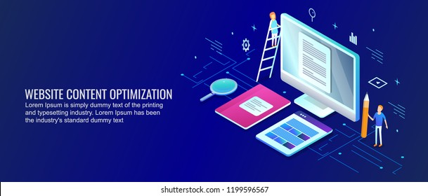 Website content optimization, digital content marketing flat design 3D isometric design with characters