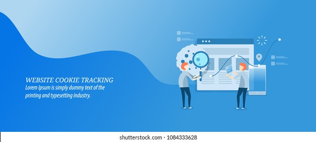 Website cookie tracking - data browsing - online behavior monitoring - flat design vector illustration