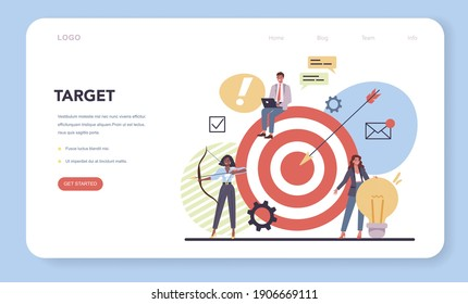 Website creation web banner or landing page. Process of website development, constructing interface and creating content. Term of references, targeting and tasks planning, Flat vector illustration