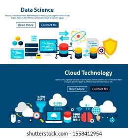 Website Data Science Banners. Vector Illustration for Web Header. Technology Flat Design.