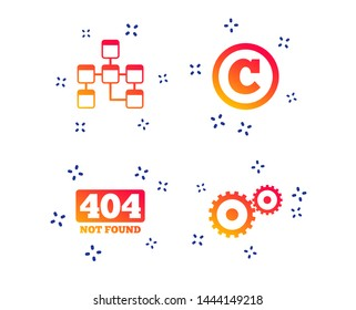 Website database icon. Copyrights and gear signs. 404 page not found symbol. Under construction. Random dynamic shapes. Gradient web icon. Vector