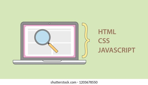a website deconstruct element structure with html css javascript programming language vector illustration