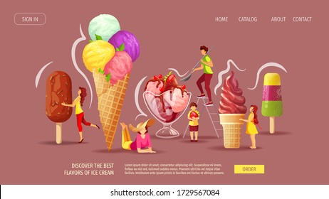Website design for Ice cream parlor or shop, Sweet products, Dessert. Set of various ice cream with tiny people. Vector illustration for poster, banner, website, advertising, menu.
