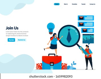 website design of join us, hiring and refer a friend program. recruitment announcements and job openings. Flat illustration for landing page template, ui ux, website, mobile app, flyer, brochure