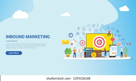 website design landing page ui ux for inbound marketing concept strategy team working together with big screen goals and graph chart and icon spread - vector illustration