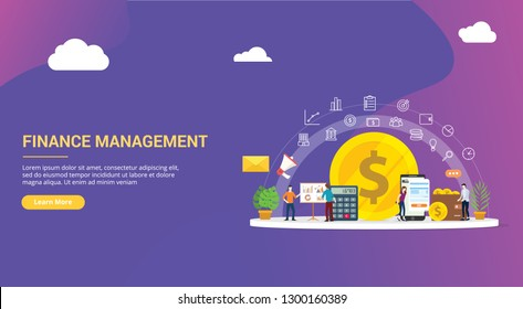 website design page template landing ui ux for finance or financial management with team people working together to manage the business company corporate - vector illustration - Shutterstock ID 1300160389