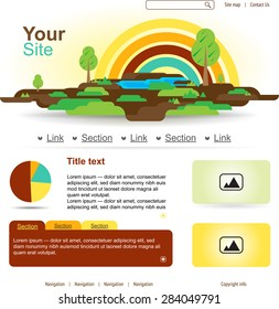 Website design with rainbow and trees. Flat land illustration.