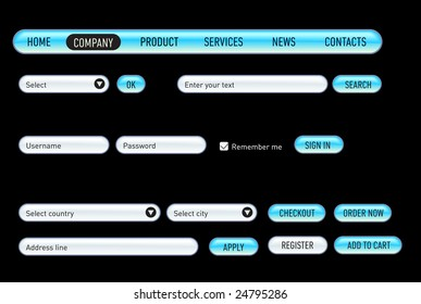 Website design set on a black. Consist of: menu, bar, buttons, checkbox, input text fields, drop down box.