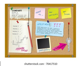 Website design template - cork board with notes - vector illustration