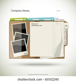 Website design template, folder with papers and photo cards