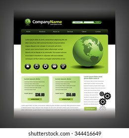 Website design template with globe and gears