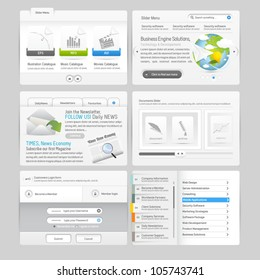 Website design template menu elements with icons set: Forms and Image Slider