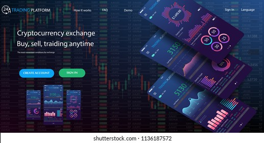Website Design Template for trading platform.Professional trader tools for successful trading.Trade exchange app on phone screen. Mobile banking cryptocurrency ui. Online stock trading interface.