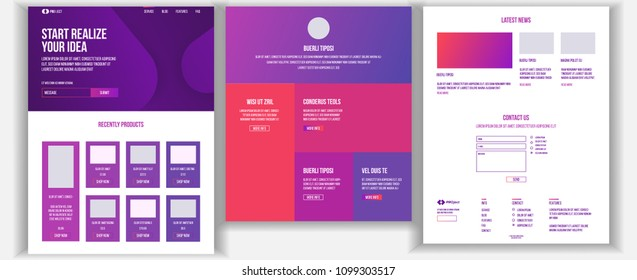 Website Design Template Vector. Business Interface. Landing Web Page. Professional Team. Monitoring And Optimization. Popular Ptroducts. Conference Course. Illustration