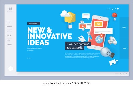 Website design. Vector illustration template for website and mobile website design and development. Creative concept, easy to edit and customize.