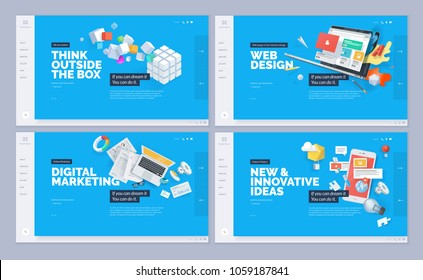 Website designs collection. Vector illustration template for website and mobile website design and development. Creative concept, easy to edit and customize. - Shutterstock ID 1059187841